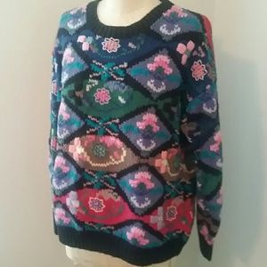 Vintage Northern Isles Hand Knit Floral Sweater